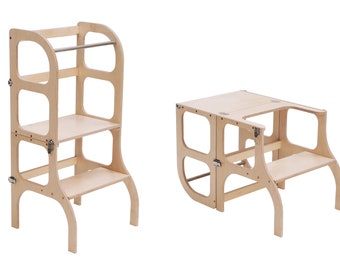 """Helper tower - table """"Step'n'sit"""", Montessori learning helper tower, kitchen step stool - WOODEN color"""