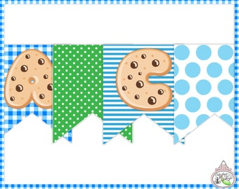 Boys Milk & Cookies-Banner-Birthday Party-Cookie Decorating-Party Printables-Photo-Milk and Cookies-DIY-Instant Download-Digital PDF Files