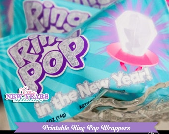 Cheers New Year's Ring In the New Year Pop-New Years Eve Party-Ring Pop Wrapper-Candy Wrap-Favors-New Year's Eve-Printable-INSTANT DOWNLOAD