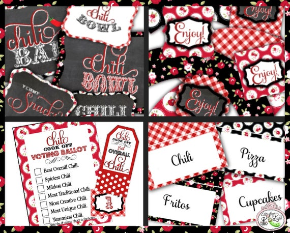 Chili Bowl Full Party Package Party Printables Printable Super Bowl Chili Cook Off Chili Bar