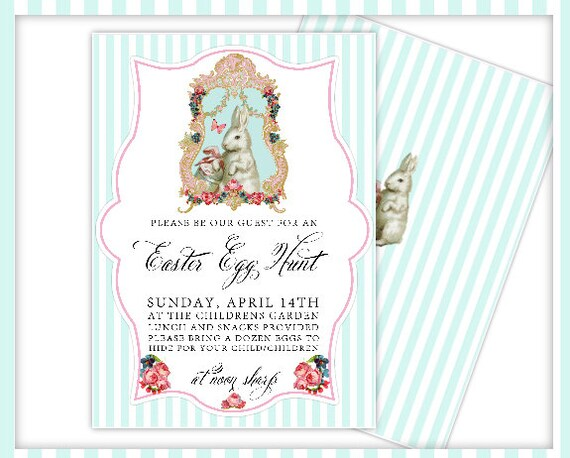 Cotton Tail-Easter Invitations-Printable Invites-Easter Egg Hunt-Baby Shower-First Communion-Easter Brunch-Easter Party-Printable Cards