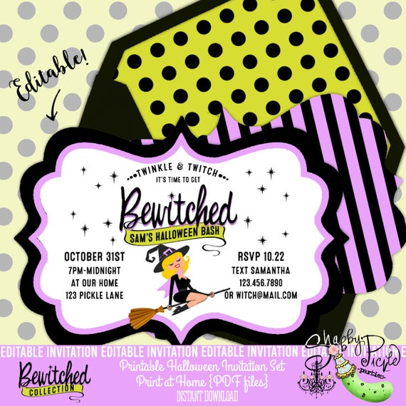 photograph regarding Halloween Invites Printable named Bewitched-EDITABLE Invites-Halloween Invitations-Printable-Halloween Social gathering-Immediate Down load-Edit Oneself-Print at Dwelling-Witch-Broom-Family vacation