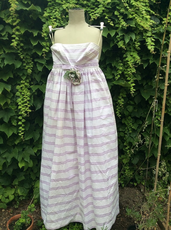 1950s lilac and white cotton prom dress