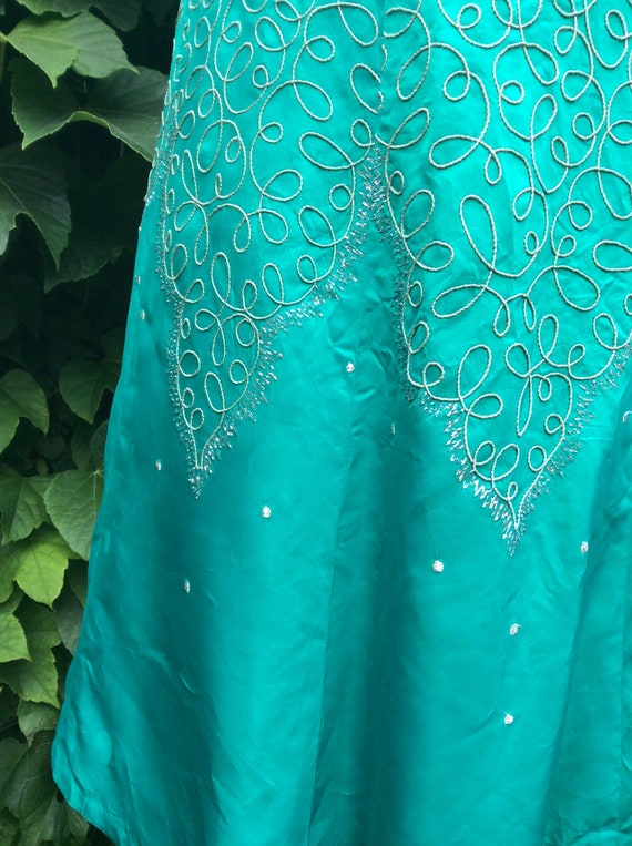 50s/60s green satin cocktail frock - image 2