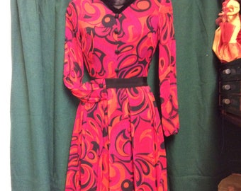 1960s abstract print dress