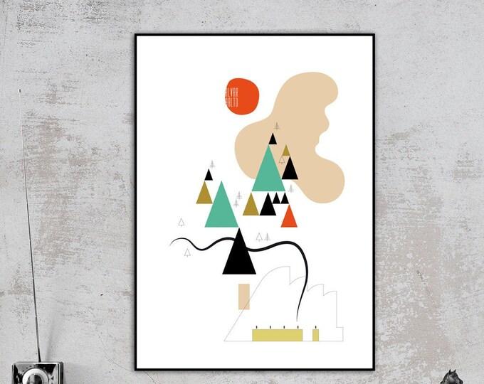 Stampa con collage ispirato all'opera di Alvar Aalto. Architettura moderna. Stampa tipografica. Regalo per un architetto.