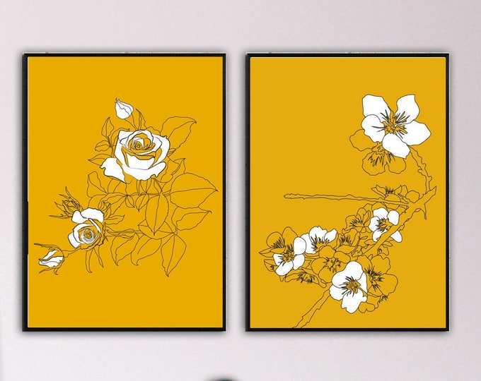 Stampa di un dittico con rosa e fiori di pesco. Stampa di 2 poster 30x40 cm. Stampa tipografica con illustrazioni fatte a mano.