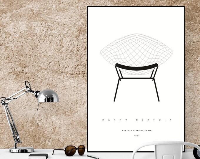 Stampa con Bertoia Diamond Chair di Harry Bertoia. Design moderno. Stampa tipografica.