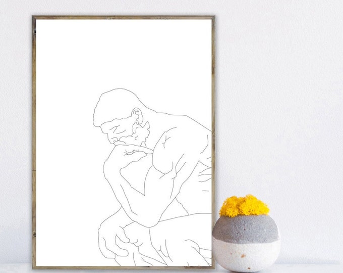 """Stampa poster con illustrazione de """"Il pensatore"""" di Auguste Rodin. Stampa tipografica. Museo Rodin a Parigi."""