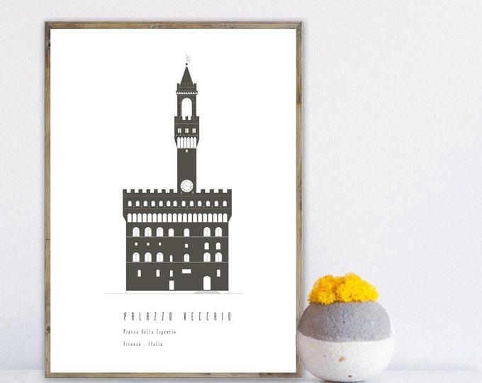 Stampa con Palazzo Vecchio a Firenze. Arte astratta. Stampa tipografica. Stile minimal.