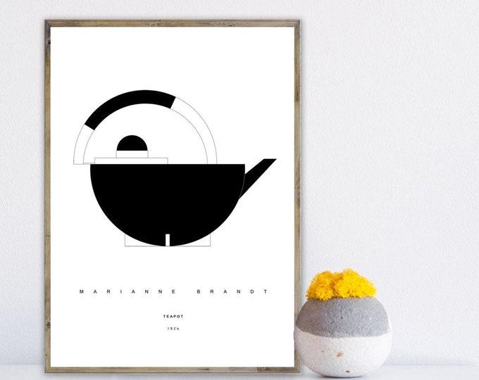 Stampa con teapot di Marianne Brandt. Ispirazione Bauhaus. Stampa digitale. File digitale.
