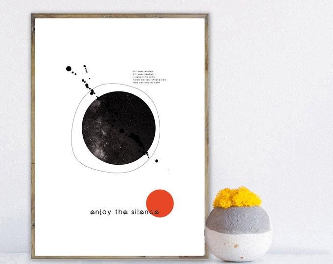 Stampa Depeche mode: Enjoy the silence. Stampa tipografica. Stampa in stile scandinavo. Regalo per lui. Regalo per lei. Decor parete.