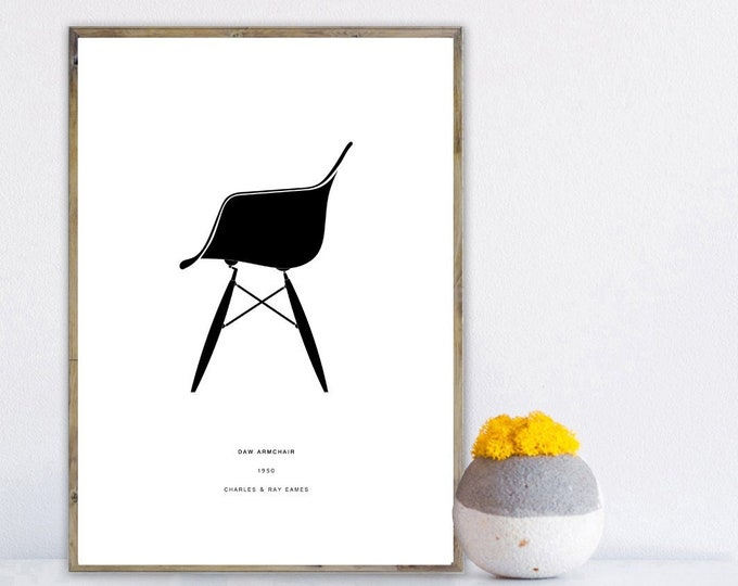 Stampa poster Charles & Ray Eames: Daw Armchair. Design moderno. Stampa tipografica.