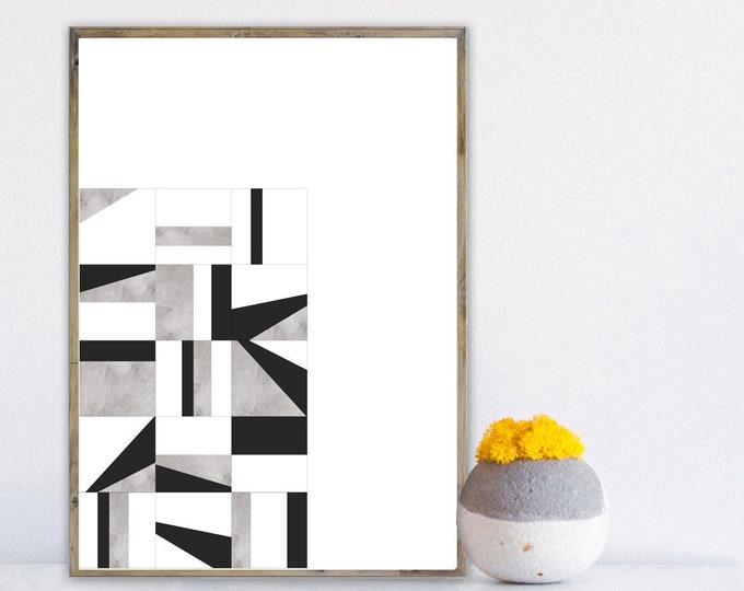 Stampa con arte astratta. Poster con arte geometrica. Arte moderna. Stampa tipografica.