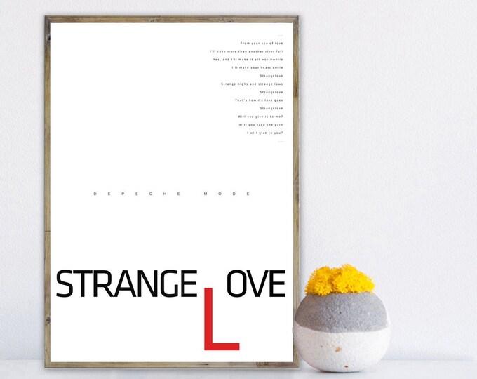 Print Depeche Mode: Strangelove. Decor printing. Typographical printing. Scandinavian style. Gift Idea. Nordic style printing. Music Poster.