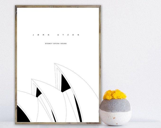 Stampa con teatro dell'opera di Sydney, Viaggi nel mondo, architetto Jørn Utzon