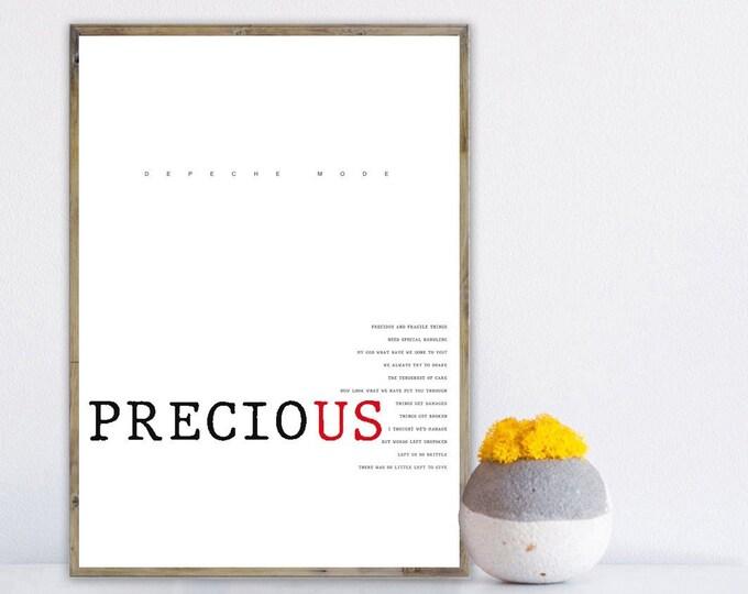 Poster Depeche Mode: Precious. Stampa decorativa murale. Stampa tipografica con citazione musicale.