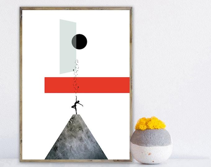 Stampa con collage. Stampa tipografica. Stampa Arte geometrica. Rosso e blu. Stampa paesaggio astratto.