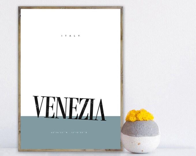 Stampa poster Venezia. Viaggi nel mondo. Stampa tipografica. Decorazione parete.