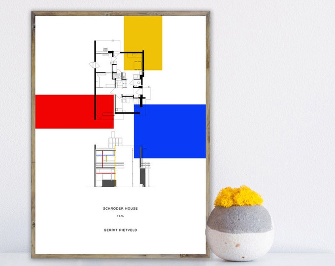 Stampa Gerrit Rietveld: SCHRODER HOUSE Poster. Stampa tipografica. Home wall decor.