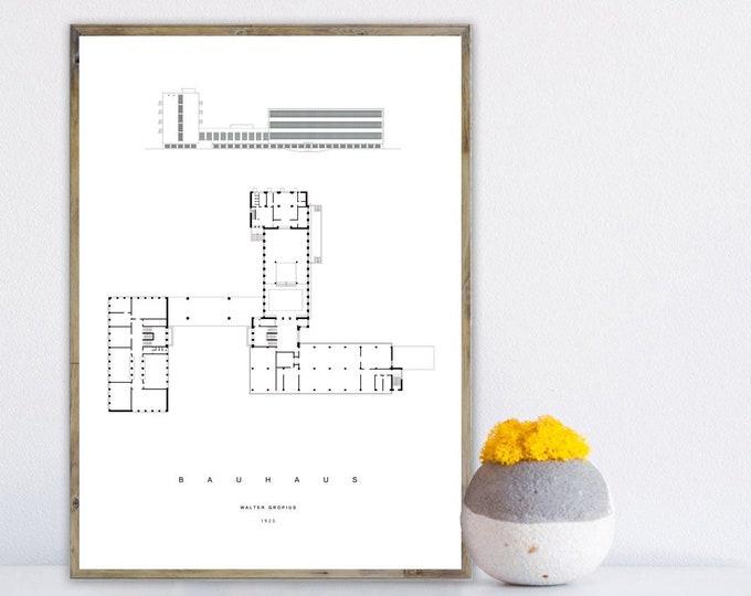 Stampa con Bauhaus. Walter Gropius. Stampa tipografica. Stampa stile scandinavo.