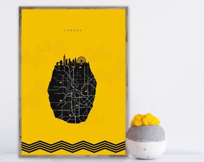 Stampa città di Londra. Viaggi nel mondo. Poster con skyline di Londra.