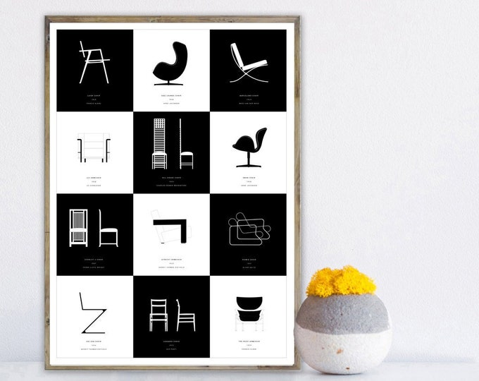 Print collages of icons of modern design. Printing typographic. Furnish with prints. Gift for an architect.