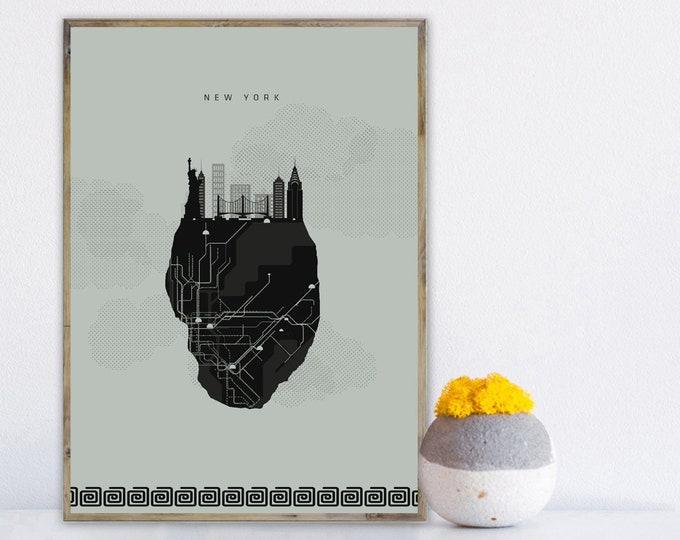 Stampa con città di New York, Viaggi nel mondo, Skyline New York, Poster regalo matrimonio,