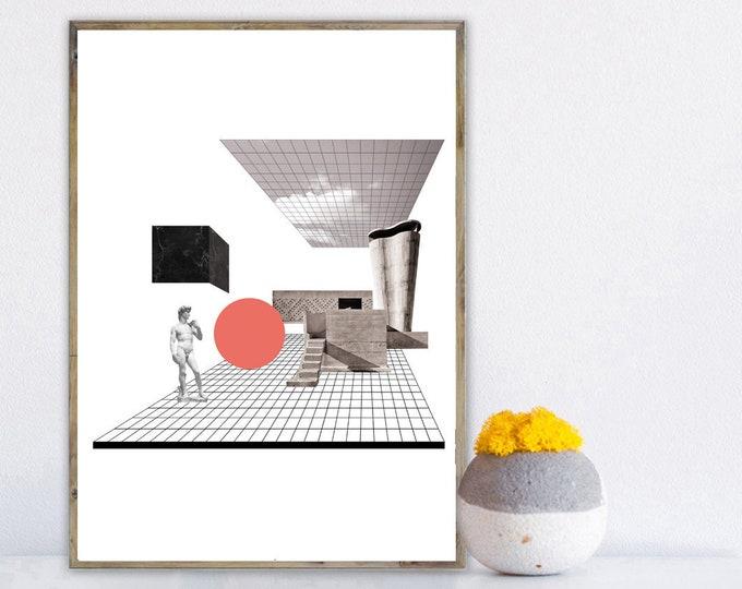 Stampa con collage. Stampa tipografica. Stile scandinavo. Stampa decorativa. Unité d'Habitation Le Corbusier. David Michelangelo.