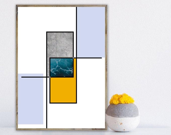 Stampa con arte astratta. Poster arte geometrica. Arte moderna. Stampa tipografica.