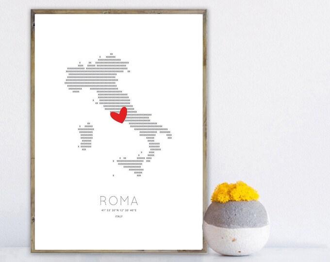 Stampa poster Italia: Roma. Stampa tipografica. Decor parete. Viaggi nel mondo.