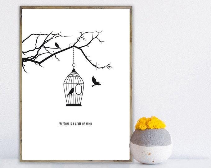 Stampa con uccelli. Stampa tipografica. Stampa decorativa da parete. Stampa minimal.