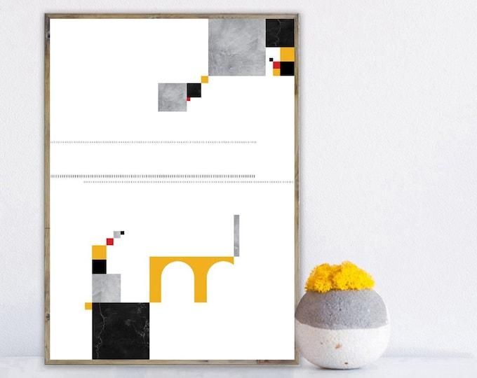 Stampa con arte astratta. Poster arte geometrica. Stampa decorativa da muro. Arredamento moderno.