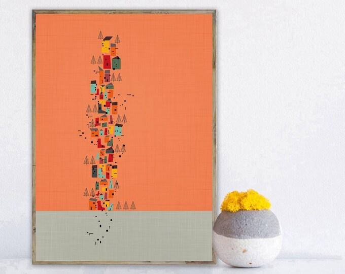 Stampa con arte astratta. Arte geometrica. Stampa tipografica. Giardino verticale.