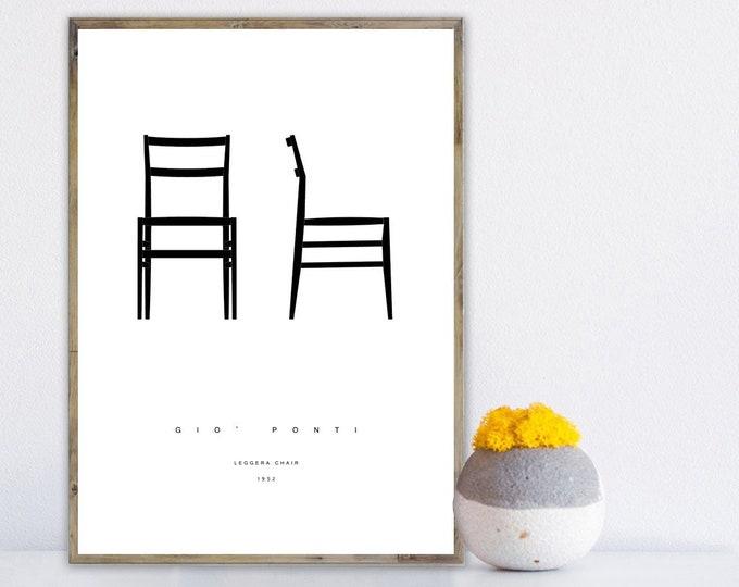 Stampa design Giò Ponti: Leggera Chair. Stampa tipografica. Arredare con le stampe.