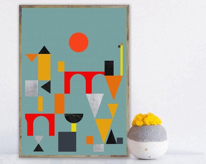 Stampa con arte astratta. Arte geometrica. Arte moderna. Stampa tipografica.