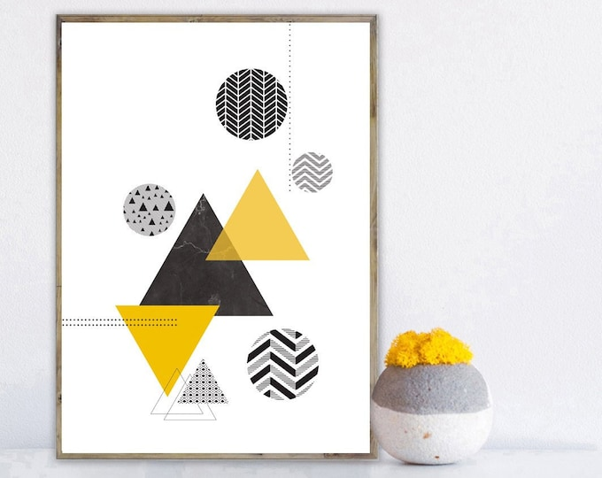 Print with abstract art. Geometric art. Wall Decor. Typographical printing. Scandinavian style. Gift Idea for him and her. Nordic Style