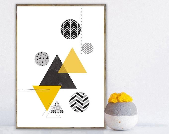 Stampa con arte astratta. Arte geometrica. Decor parete. Stampa tipografica. Stile scandinavo. Idea regalo per lui e per lei. Stile nordico