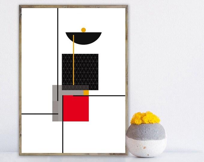 Stampa con arte astratta. Poster arte geometrica. Stampa tipografica.