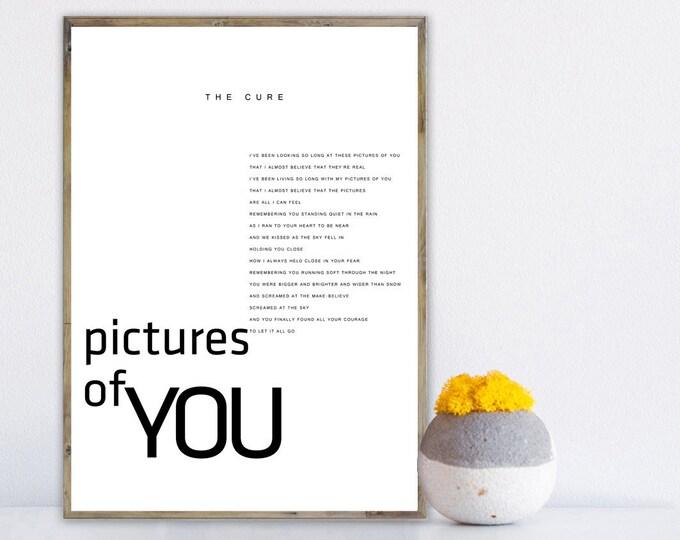 Pictures of You poster The Cure. Stampa decorativa. Stampa tipografica. Stampa stile scandinavo. Idea regalo. Stile nordico.