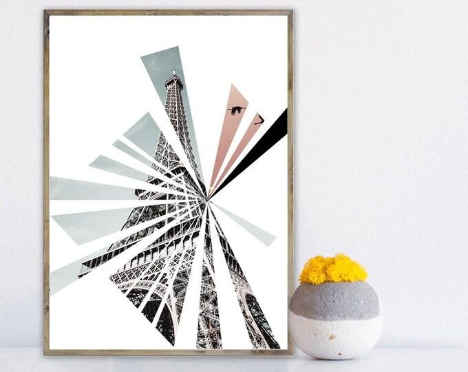Stampa poster con collage: Tour Eiffel a Parigi. Stampa tipografica. Viaggi nel mondo.