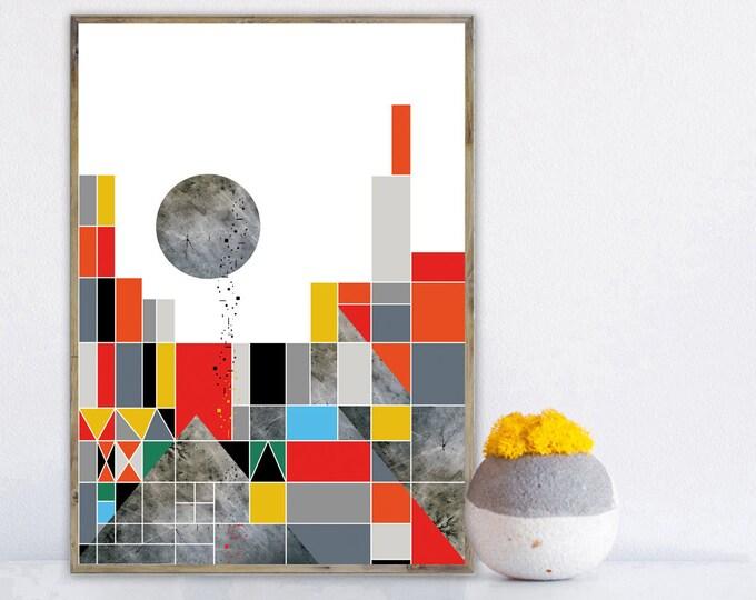 Stampa arte astratta. Poster arte geometrica. Stampa tipografica arredamento moderno.