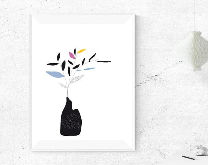 Stampa illustrazione con vaso di fiori. Poster con arte astratta. Arte moderna. Stampa tipografica. Stile scandinavo. Regalo per moglie.