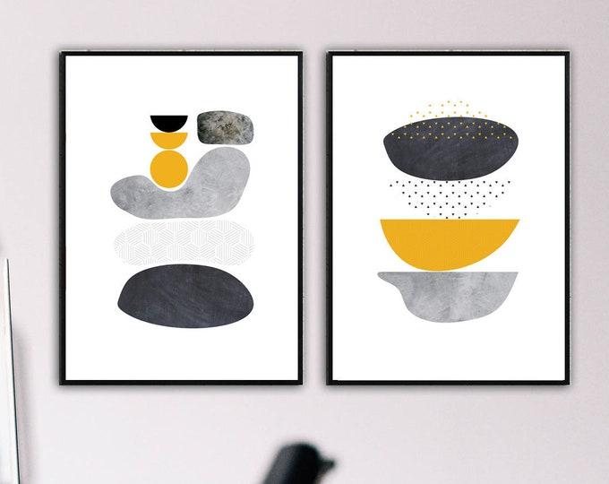 Set di 2 stampe con arte astratta. Stampa tipografica.Dittico con arte geometrica. Arredamento moderno.
