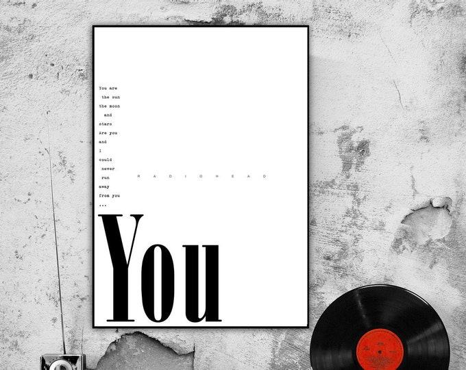 Stampa poster musicale: YOU. Ispirazione Radiohead. Stampa tipografica. Stile scandinavo. Idea regalo.