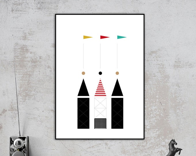 Aldo Rossi architecture print. Printing typographic. Scandinavian style print. Furnish with prints. Gift for an architect. Office decor.