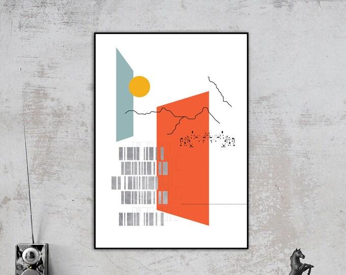 Stampa con collage. Stampa tipografica. Paesaggio astratto. Arte geometrica. Stampa in stile nordico.