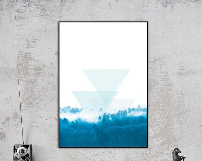 Stampa con paesaggio. Poster con natura. Minimal art. Stile scandinavo. Arte geometrica. Decor parete. Regalo per lui. Paesaggio astratto.