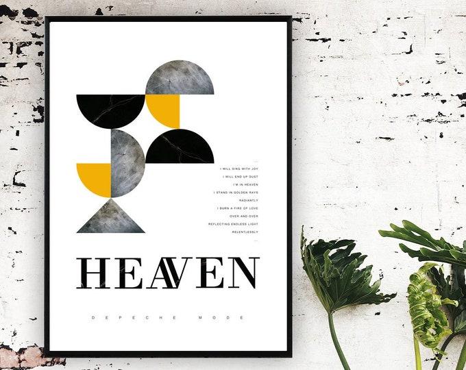 Stampa Depeche mode: Heaven. Stampa decorativa da muro con citazione musicale. Arte astratta.