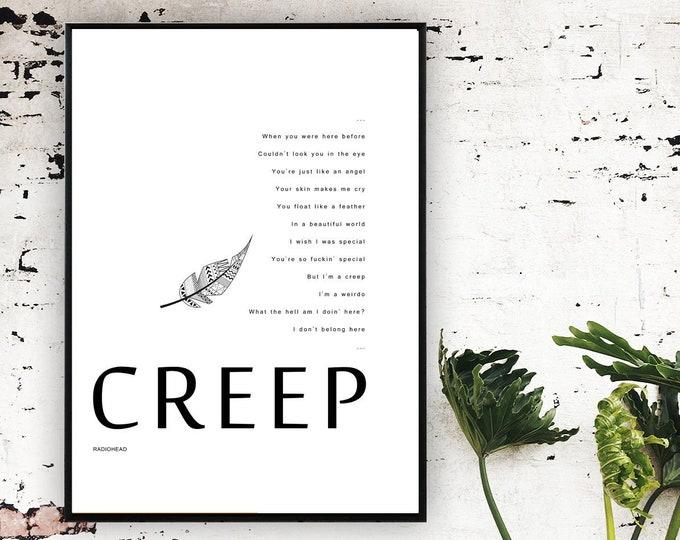 Poster Radiohead: CREEP. Stampa tipografica con citazione musicale. Stampa in stile scandinavo.